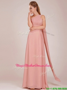 Elegant Empire One Shoulder Ruched Peach Long Mother of Groom Dresses
