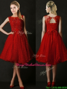 Modest Knee Length Red Mother of Groom Dresses with Beading and Appliques