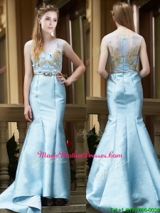 Modest Mermaid Applique Brush Train Mother of Groom Dresses in Light Blue