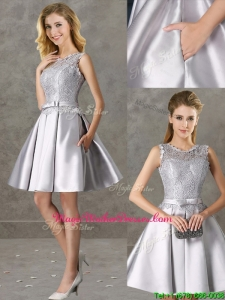 Classical Laced and Bowknot Scoop Mother Of The Bride Dresses in Silver+