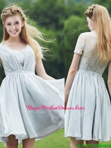 Elegant Sweetheart Short Sleeves Mother Of The Bride Dresses with Belt and Lace