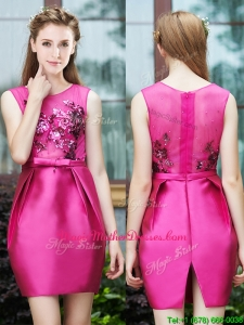 Luxurious Column Scoop Applique Hot Pink Mother Of The Bride Dresses in Satin