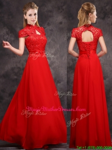 New Arrivals Applique and Laced High Neck Mother Of The Bride Dresses in Red