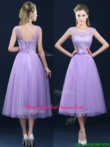 Popular See Through Applique and Belt Mother Of The Bride Dresses in Tulle