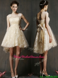 See Through Scoop Champagne Mother Of The Bride Dresses with Hand Made Flowers and Bowknot