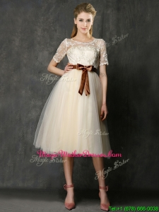See Through Scoop Short Sleeves Mother Of The Bride Dresses with Bowknot and Lace