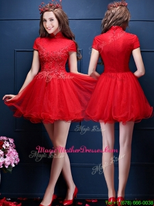Luxurious High Neck Short Sleeves Mother Of The Bride Dresses with Appliques and Beading