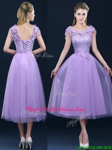 New Style Cap Sleeves Lavender Mother Of The Bride Dresses with Lace and Appliques