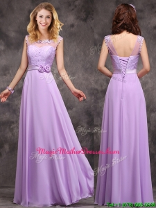 Popular See Through Applique and Laced Mother Of The Bride Dresses in Lavender