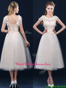 Pretty Tea Length A Line Mother Of The Bride Dresses with Cap Sleeves