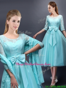 Romantic Aqua Blue Scoop Half Sleeves Mother Of The Bride Dresses with Bowknot