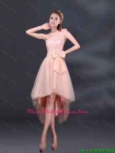 2016 Bowknot High Low Lace Up Mother Of The Bride Dresses with One Shoulder