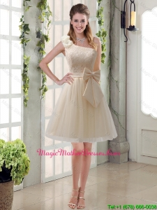 2016 Princess One Shoulder Bowknot Lace Mother Of The Bride Dresses in Champagne
