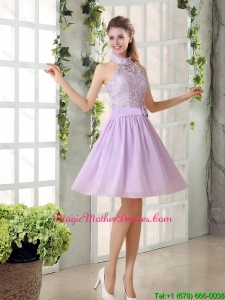High Neck Lilac A Line Lace Mother Of The Bride Dresses Chiffon for 2016