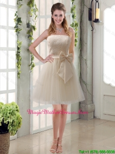 Popular Champagne Strapless Princess Bowknot Mother Of The Bride Dresses for 2016