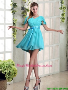 2016 A Line Ruching and Belt V Neck Mother Of The Bride Dresses with Cap Sleeves