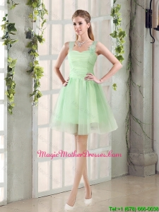 2016 Ruching Organza A Line Straps Mother Of The Bride Dresses with Lace Up