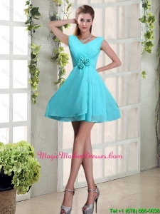 2016 Ruching and Hand Made Flowers V Neck A Line Mother Of The Bride Dresses