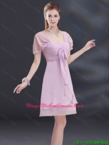 2016 A Line Square Ruhing Mother Of The Bride Dresses with Cap Sleeves