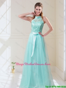 2016 Elegant Empire Halter Top Laced Mint Mother Of The Bride Dresses with Sash