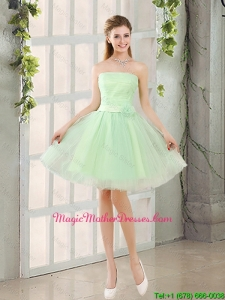 2016 The Most Popular Strapless A Line Mother Of The Bride Dresses with Lace Up