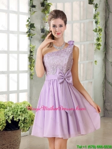 One Shoulder Lilac Mother Of The Bride Dresses with Bowknot for 2016