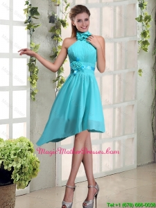 2016 Cheap Halter Ruching and Hand Made Flowers Mother Of The Bride Dress