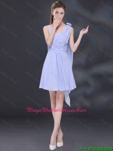 Chiffon Ruching 2016 Lavender Cheap Mother Of The Bride Dress with One Shoulder