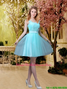 2016 Cheap Aqua Blue Short Mother Of The Bride Dresses with Belt