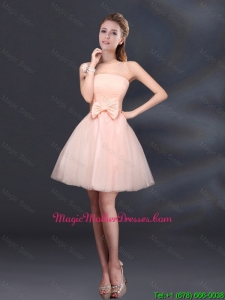 2016 Cheap Bowknot A Line Strapless Mother Of The Bride Dress with Lace Up