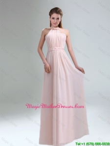 2016 Cheap High Neck Chiffon Light Pink Mother Of The Bride Dress
