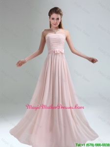 2016 Cheap Light Pink Empire Mother Of The Bride Dress with Bowknot belt