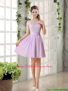 2016 Cheap Mother Of The Bride Dress Ruching with Hand Made Flower in Lilac
