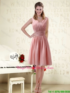 V Neck Empire Chiffon Ruching Cheap Mother Of The Bride Dresses for 2016