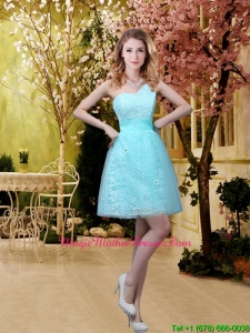 2016 Cheap A Line Laced Mother Of The Bride Dresses with Appliques in Aqua Blue