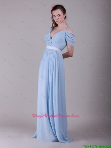 Exclusive Spaghetti Straps Light Blue Mother Dresses with Ruching and Belt