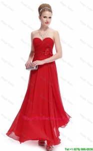 Gorgeous Sweetheart Ruched Red Mother Dresses with Appliques
