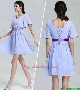 Popular V Neck Short Sleeves Short Mother Dresses with Hand Made Flowers