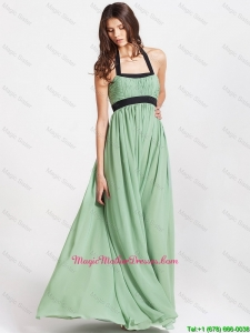 2016 Spring Modern Halter Top Mother Dresses with Ruching and Belt