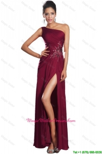 Beautiful High Slit Mother Gowns with Beading and Ruching