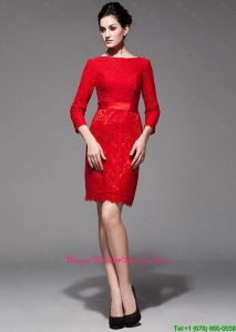Custom Made 2016 Lace 3/4 Sleeves Short Red Mother Dress with Belt