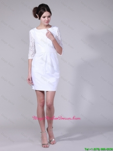 Fashionable Column Bateau Laced Half Sleeves Mother Dresses in White