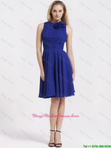 Fashionable Short Royal Blue Mother Dresses with Hand Made Flowers