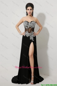 Luxurious Beaded and High Slit Mother Dresses in Black