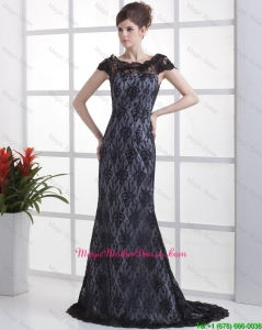 Luxurious Column Lace Black Mother Dresses with Brush Train