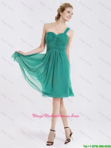 Popular Short One Shoulder Mother Dresses with Ruching