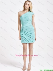 Romantic Short One Shoulder Ruching Mother Dress in Turquoise