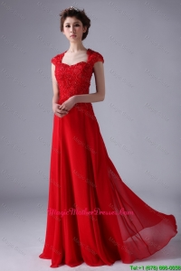 V Neck Lace and Red Mother Dresses with Beading and Lace