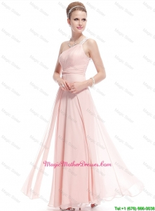 Fashionable Beaded Side Zipper Mother Dresses in Baby Pink