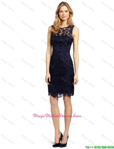 Gorgeous Column Bateau Laced Prom Dresses in Black for 2016